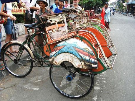 betjaks in Yogyakarta midden Java