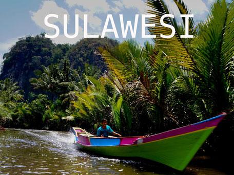 Boottocht bij Rammang Rammang op Sulawesi