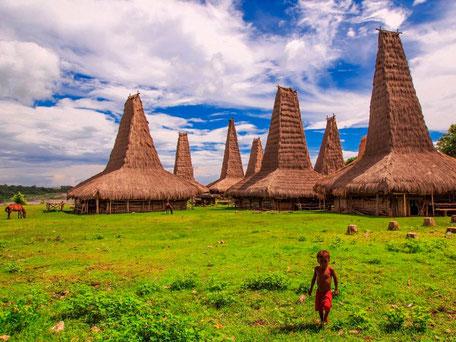 Het bijzondere Ratenggaro dorpje met zijn stijlopende met stro bedekte daken