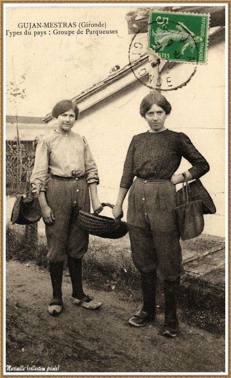 Gujan-Mestras autrefois : Parqueuses en 1913, Bassin d'Arcachon (carte postale, collection privée)