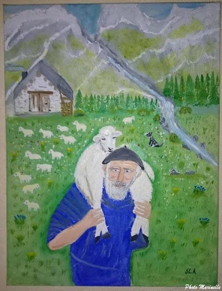 """JLA Artiste Peintre - """"Berger et son troupeau dans les estives"""" 059 - Peinture sur toile"""