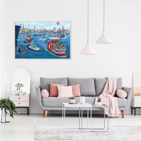 www.amarillu.de Poster Hamburger Hafen 90x60 cm