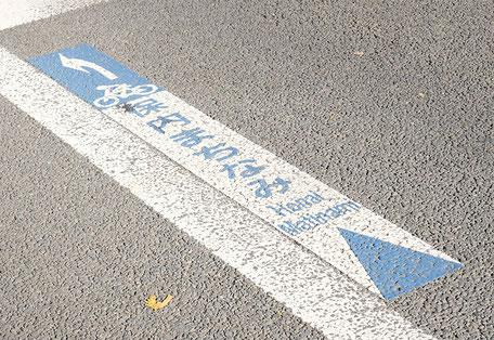 路上自転車ピクトグラム(至旧保内町町並み)
