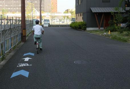 大分市自転車誘導サイン車道のみの場合