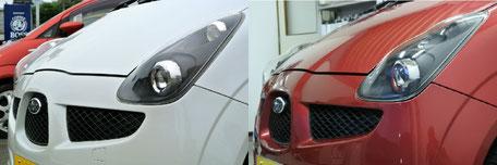 ポジションスモーク化&ウィンカー廻りメッキ残し(写真左)   ポジションウィンカースモーク化&レッドリング(写真右)