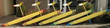 5 planeurs radiocommandés Miraj Aeromod jaunes, côté extrados