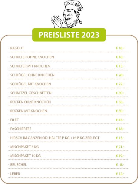 Bio Wildfleisch aus Prambachkirchen, Bezirk Eferding (Oberösterreich) - Markus und Bernadette Watzenböck - Preisliste 2021