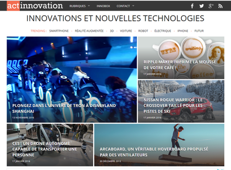 Photo de la page d'accueil du site Actinnovation