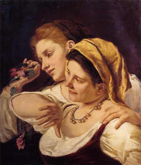 《カーニバルに花を投げる二人の女性》1872年