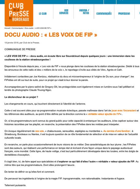 club de la presse bordeaux communiqué Du son, pour changer FIP Strasbourg