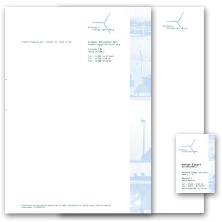 Briefbogen und Visitenkarte, Geschäftspapiere