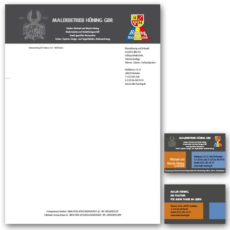 Briefbogen und Visitenkarte, plan2 werbeagentur metelen