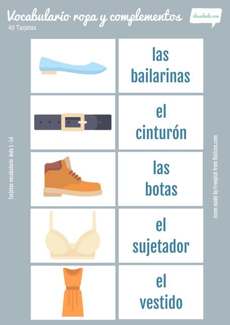 Tarjetas de vocabulario de la ropa y complementos para la clase de español