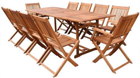 tavolo sedie +legno + acacia +giardino +10