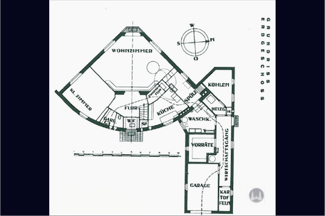 Bruno Taut, Dahlewitz, Blankenfelde - Mahlow, Taut - Haus, Grundriss, Erdgeschoss