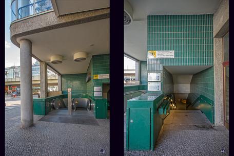 Das Ensemble U - Bahnhof Schloßstraße. Zugänge neben dem ehemaligen Wertheim - Kaufhaus.