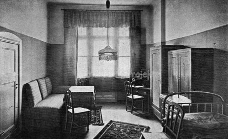 Die Kuranstalt Berolinum an der Lankwitzer Leonorenstraße. Historischer Blick in eines der Zimmer des alten Kurhauses.