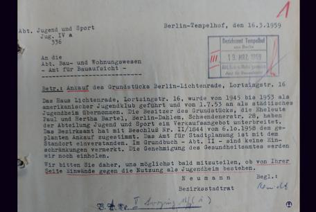 Lortzingclub in Berlin - Lichtenrade. Schreiben Bauaufsicht.