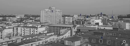 Dach der Lützowstraße. Erklärung der Gebäude 8
