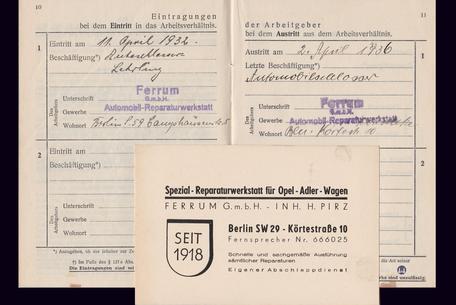 Gewerbehof Körtestraße 10. Arbeitsunterlagen von Helmut Jordan 1936.