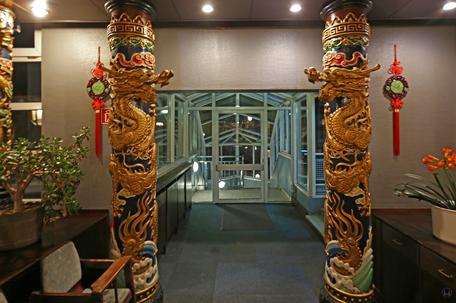 Der Siam - Pavillon in Berlin - Marienfelde. Treppenaufgang und Eingang.