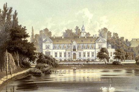 Musikhaus Bading in Berlin - Neukölln, Karl - Marx - Straße. Rittergut und Schloß Britz um 1880.