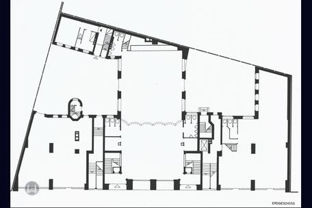 Berlin, Kreuzberg, Bruno Taut, Wohn- und Geschäftshaus, Kottbusser Damm 2 -3, Grundriss, Erdgeschoss, Erbauungszeit