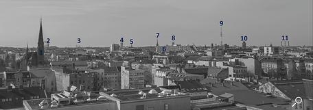 Dach der Lützowstraße. Erklärung der Gebäude 4