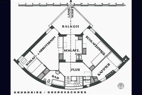 Bruno Taut, Dahlewitz, Blankenfelde - Mahlow, Taut - Haus, Grundriss, Obergeschoss