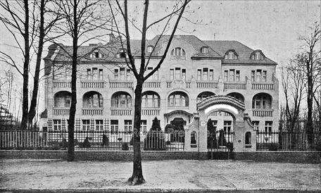 Die Kuranstalt Berolinum an der Lankwitzer Leonorenstraße. Alte Postkarte des ehem. Kuurgebäudes.