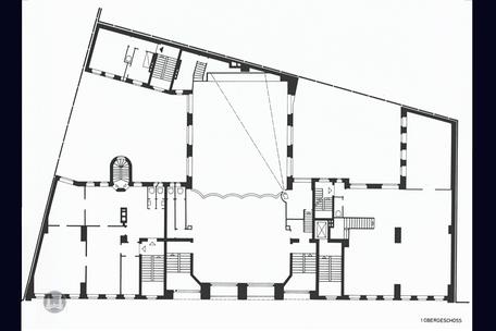 Berlin, Kreuzberg, Bruno Taut, Wohn- und Geschäftshaus, Kottbusser Damm 2 -3, Grundriss, Erbauungszeit, Erstes Obergeschoss