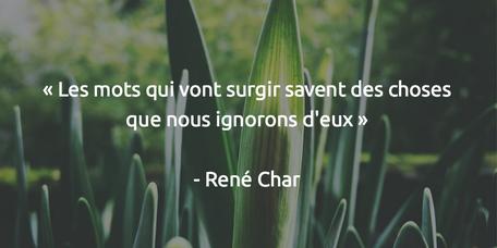 Les mots qui vont surgir savent des choses que nous ignorons d'eux René Char
