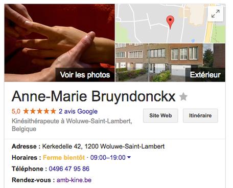 La fiche d'entreprise d'AMB Kiné sur Google