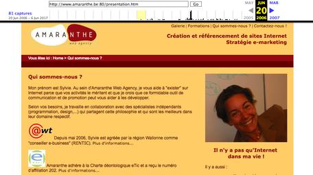 Le vieux site d'Amaranthe dans les archives de 2006