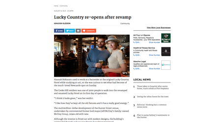 Newcastle Herald 2014 Lucky Hotel Re-opens Flourish Interior Design
