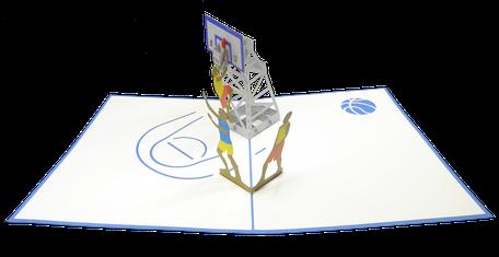Carte pop-up Jours de basket - carte d'anniversaire basketteur