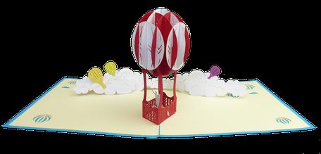Carte pop-up amoureux en montgolfière