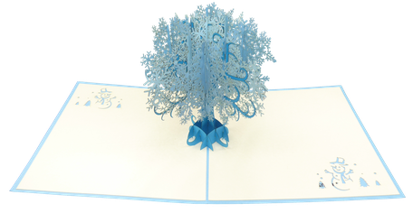 Carte Pop-Up Arbre de flocons - Carte 3D Joyeuses Fêtes