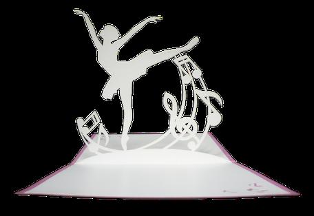 Carte kirigami danseuse ballerine rose