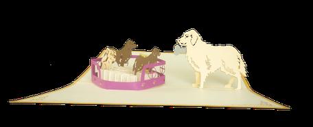 Carte Pop-Up famille chien - Carte naissance chien