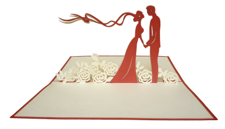 Carte kirigami mariés lit de roses - faire part mariage pop-up