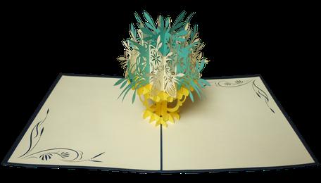 Carte pop bouquet de fleurs jaunes et vertes
