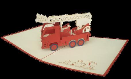 Carte Pop-Up Pompier - Carte kirigami Pompier