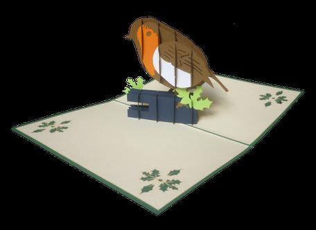 carte pop-up rouge-gorge - carte postale oiseau