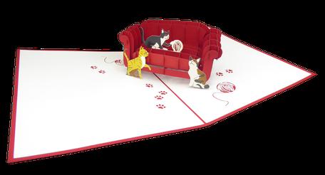 Carte pop-up chats jouant sur le canapé - carte d'anniversaire - carte de voeux