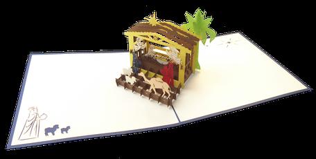 Carte Pop-Up Crèche de Noël - Carte Crèche de Noël en 3D