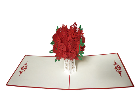 Carte Pop-Up Bouquet de roses rouges