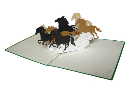 Carte Pop-Up Chevaux