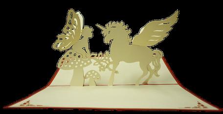 Carte kirigami Licorne et elfe