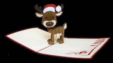 Carte pop-up renne de noël - Carte kirigami Joyeux noël - Carte 3D Joyeuses fêtes